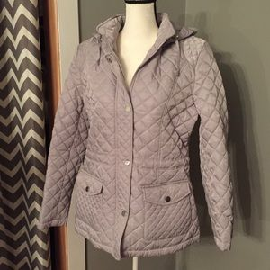 Silver/Grey Quilted Jacket With Detachable Hood